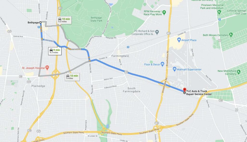 Bethpage Auto repair Directions